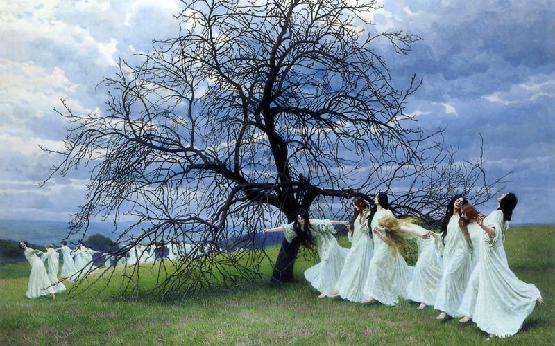 תמונה ללא תשלום של ריקוד נערות על ידי עץ. צילום: יוסי אפונסו